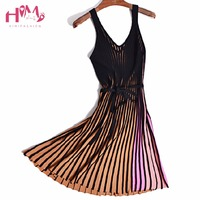 Autumn Panelled V Neck Spaghetti Strap Pleated Dress Vertical Stripe Long Knitting Female Dress Summer A Line Lady Vest Dress