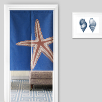 New Linen NOREN Japanese Style Door Curtain Vintage Nautical Style Coral Seastar Seahorse Tapestry 85x120cm/85x90cm