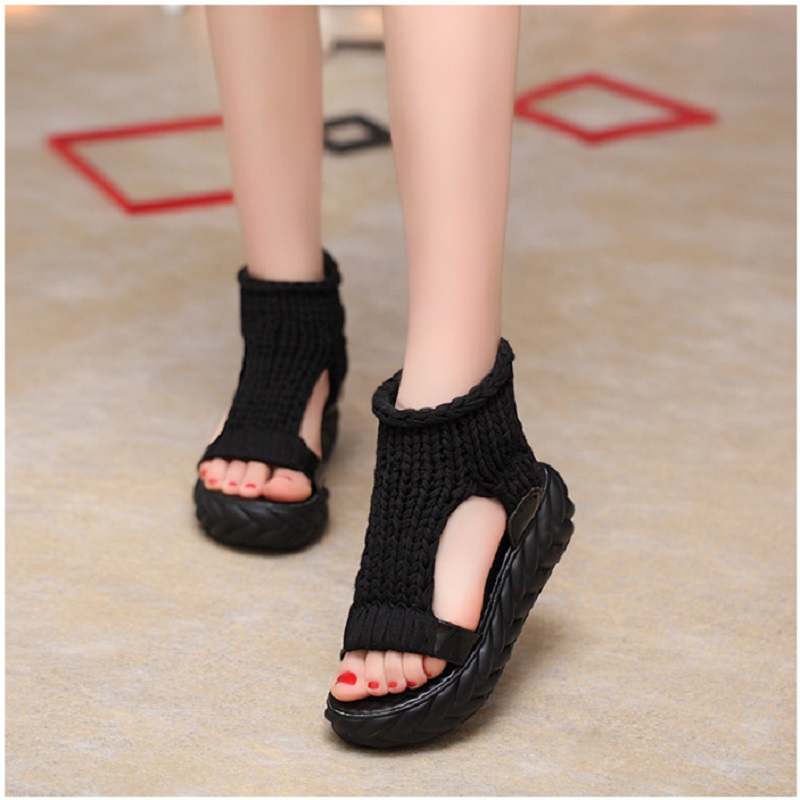 2018 Summer Wedges Women Sandals Fashion Casual Beach Shoes Female Round Toes Sandals Ladies Comfortable Solid Footwear DBT706 new leisure wedges women summer spring lace up fashion footwear female shoes comfortable women pumps ladies casual shoes dt1481