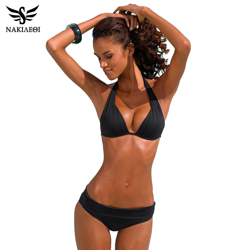 NAKIAEOI 2017 New Sexy Bikinis Women Swimsuit Push Up Swimwear Plus Size Brazilian Bikini Set Halter Retro Beach Bathing Suits|bikini cup|suit girlsbikini offers - AliExpress