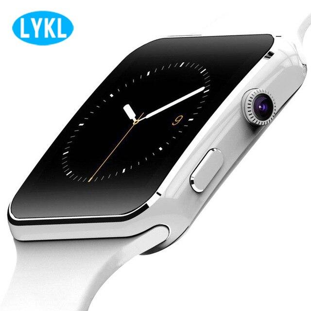 2018 lykl bluetooth relógio inteligente x6 esporte passometer smartwatch com câmera suporte cartão sim whatsapp facebook para o telefone android
