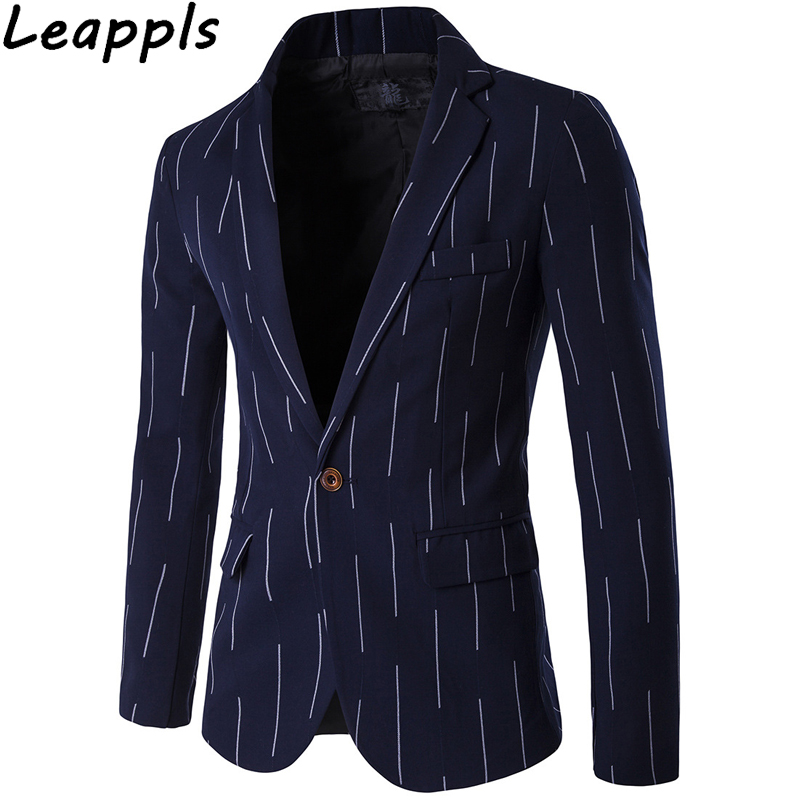 Leappls Plus Size 5xl Vertical Stripes Dress Blazers Men Fashion