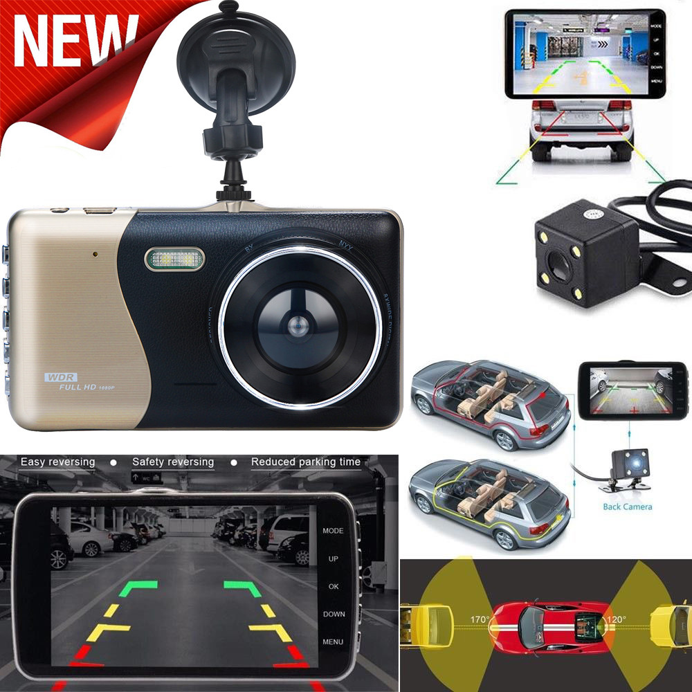 4'' LCD IPS Dual Lens Auto Car Dash Cam Full HD 1080P Dashboard Camera 170° DVR