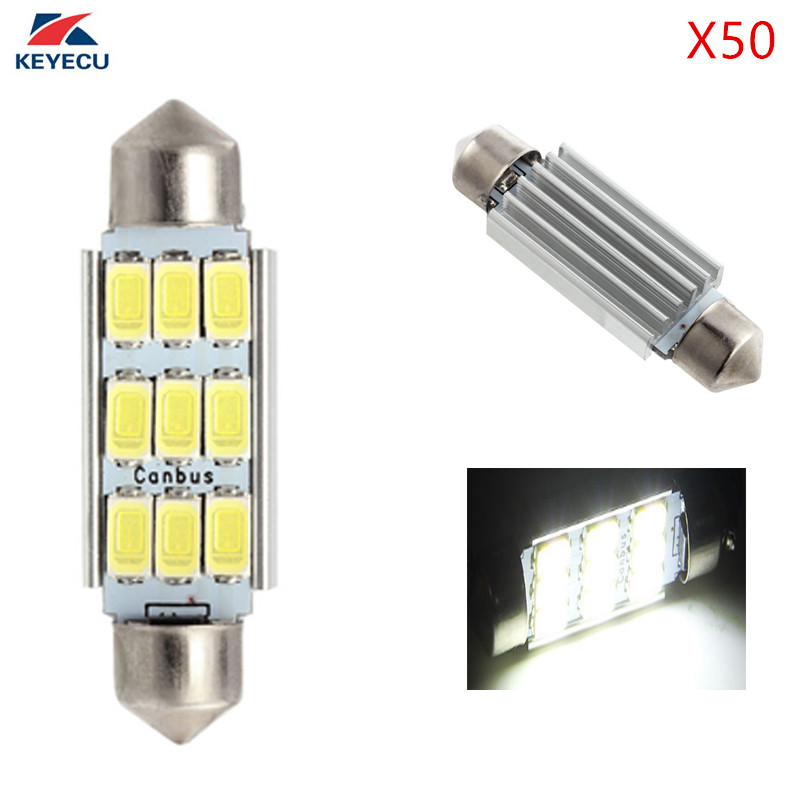 KEYECU 50 Piece White 5630 5730 41MM 9SMD LED Bulbs for License Plate Door Courtesy Interior Dome Reading Lights-DC 12V