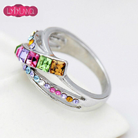 2016 Fine White Gold Plated Wedding Jewelry Colorful Moon Crystal Rings For Women Fashion New Female