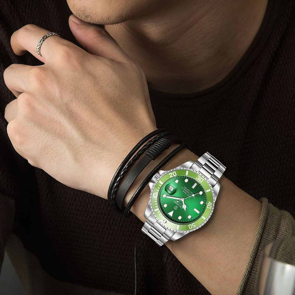 Green Men Automatic Mechanical Watch Fashion Luminous Wristwatch Luxury 30M Daily Waterproof Male Sport Clock Relogio Masculino