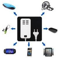 Uniwersalny Ekran UE Wtyczka 6 Port USB AC ładowarka Podróżna Gniazdo Zasilacza Inteligentne Ściany Ładowarka Dla Telefonów komórkowych Tablet kamera