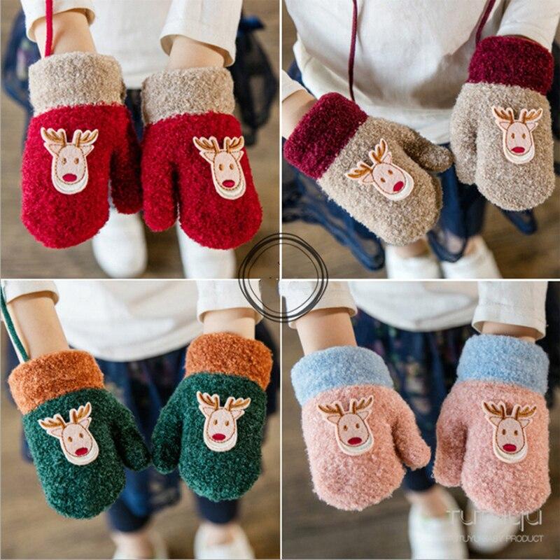 Fashion Children Cotton Flock Knitting Gloves Autumn Winter Thicken Warm Gloves Toddler Kids Cute Christmas Deer Girls Boys Gift