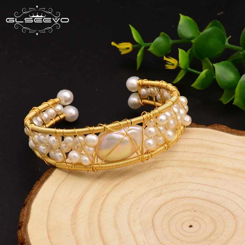 GLSEEVO Original Design Natural Fresh Water  Baroque Pearl Open Bangle For Women Wedding Luxury Jewelry Pulseras Mujer GB0115