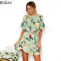 2637d9b9d8 Ebizza Floral Print Short Sleeve Women Mini Dresses Sexy Wrap O Neck Femme  Dress Vestidos Lace