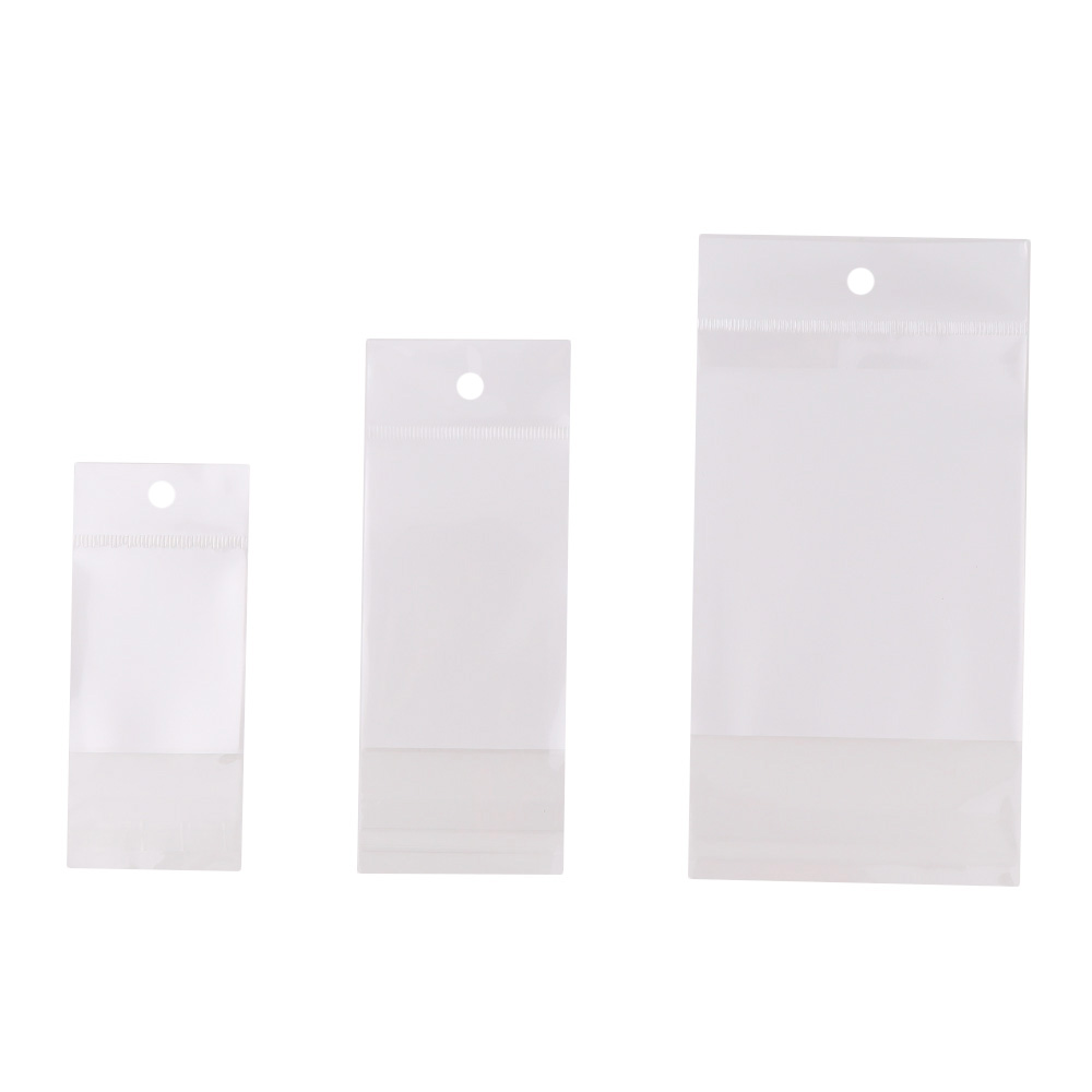 100Pieces 3 Size One Side Clear Self Seal Zipper Plastic Retail Packaging Zip Lock Storage Jewelry Packaging Hang Hole