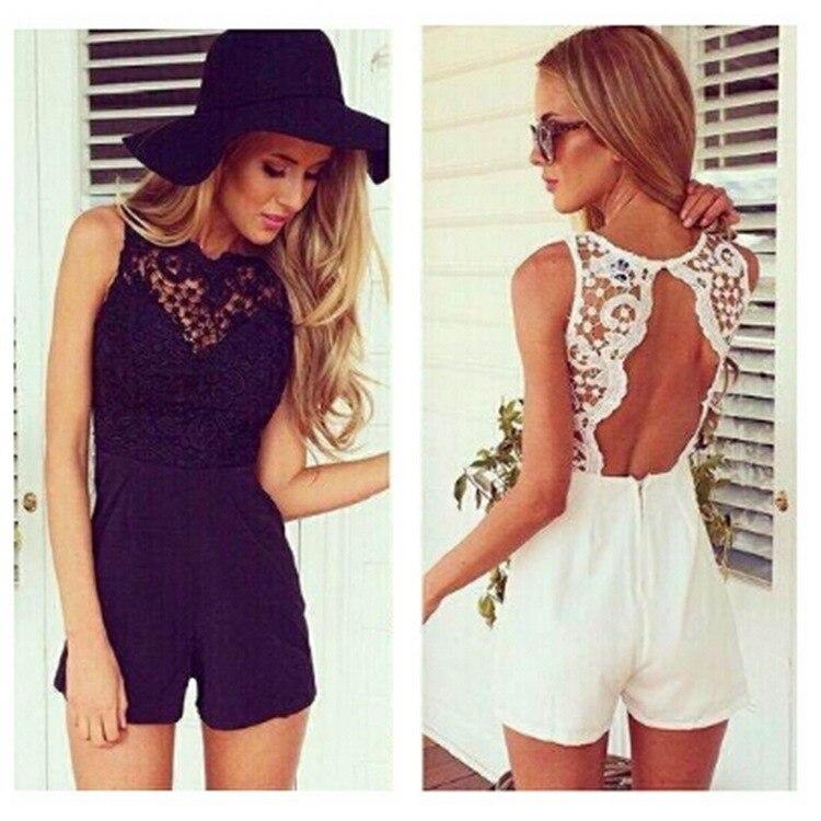 AS02 Summer Cute Female Overalls Clothing Open Back Chiffon Floral Short Women Summer Ho ...