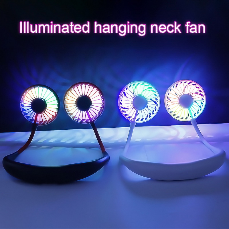 mini portable hands-free neck fans with light usb rechargeable battery and dual wind head