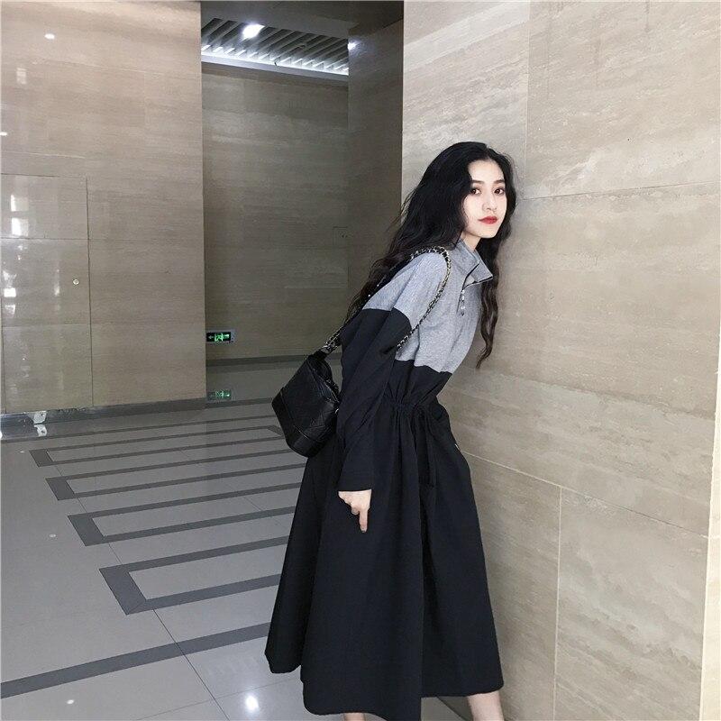 HTB1M7HvaZfrK1RkSmLyq6xGApXa0 - Spring / Autumn Mandarin Collar Long Sleeves Waist-Controlled Patchwork Zipper Midi Dress