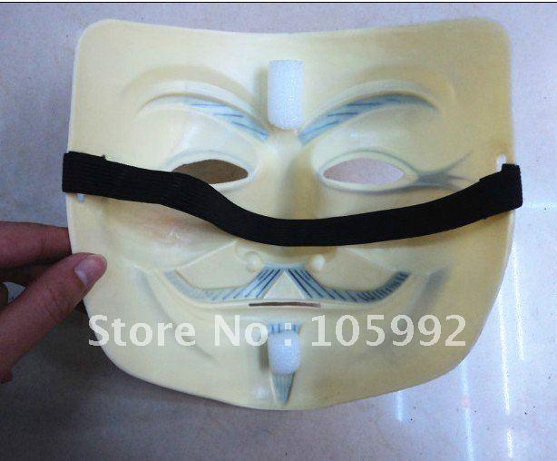 V vendetta team guy fawkes маскарад Хэллоуин Карнавальная маска(взрослый размер), 40 г, желтый светильник, 1 шт./лот CPAM