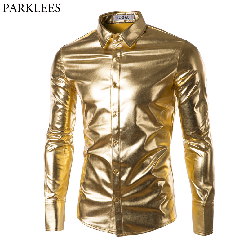 Night Club Wear Mens Dress Shirts Slim Fit Shiny Gold Coated Metallic Shirt Men Long Sleeve Button Down Shirt For Disco Party