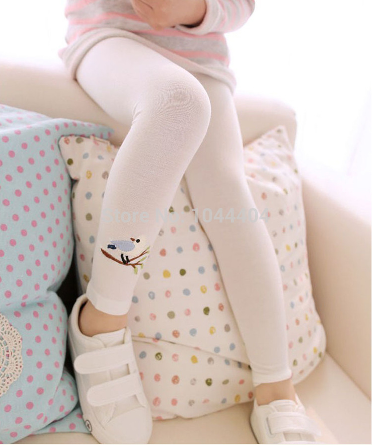 Hot Sales Baby Kids Meitenes Kokvilnas bikses Izšūšanas putnu siltās striju bikses
