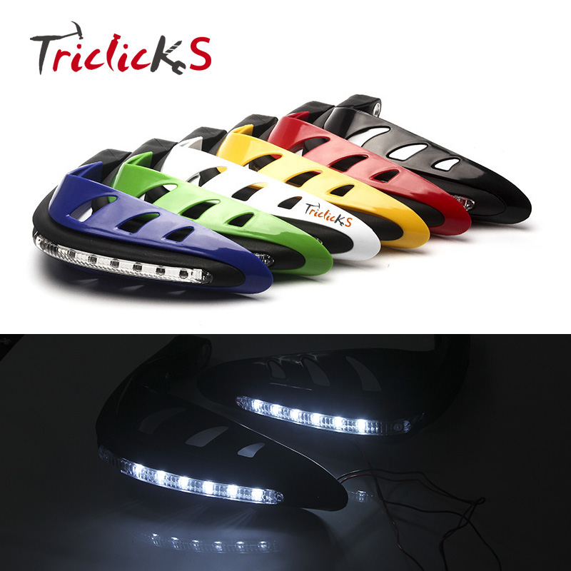 Triclick 7/8 22mm Motorcycle Brush Guards LED DRL Turn Signal Hand Bar Handguard Protector Handlebar Handguards ATV Hand Guards atv motorcycle wind shield handle hand guards motocross transparent handguards for honda cbf600 sa cbf1000 a cb1100 gio nc750