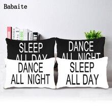 Bailar Toda La Noche de Dormir Todo el Día Suave Almohada Cremallera Invisible Gemelas Lados Impresión Throw Pillow Covers Total 2 Unidades