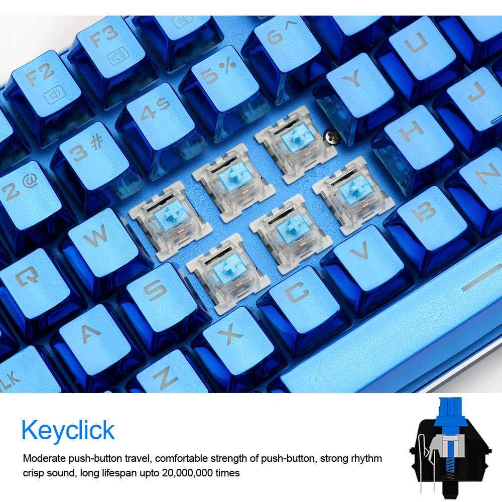 Redragon K566B RGB Aluminium USB Mechanical Gaming Keyboard Blue Switch Ergonomis LED Backlit 87 Kunci Kabel Komputer PC Gamer