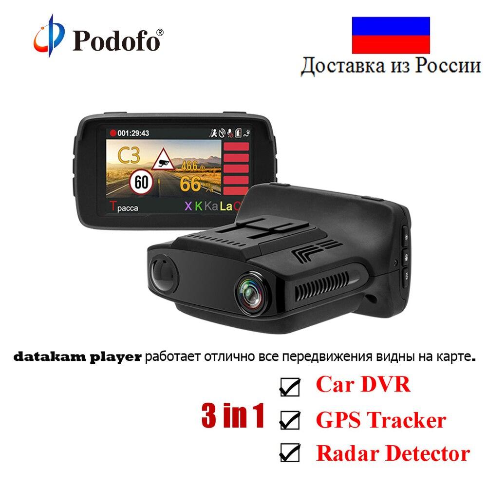 Podofo Ambarella Voiture DVR Détecteur de Radar GPS Caméra 3 dans 1 HD 1080 P Enregistreur Vidéo Registraire Dashcam Russe Voix dashCam WDR
