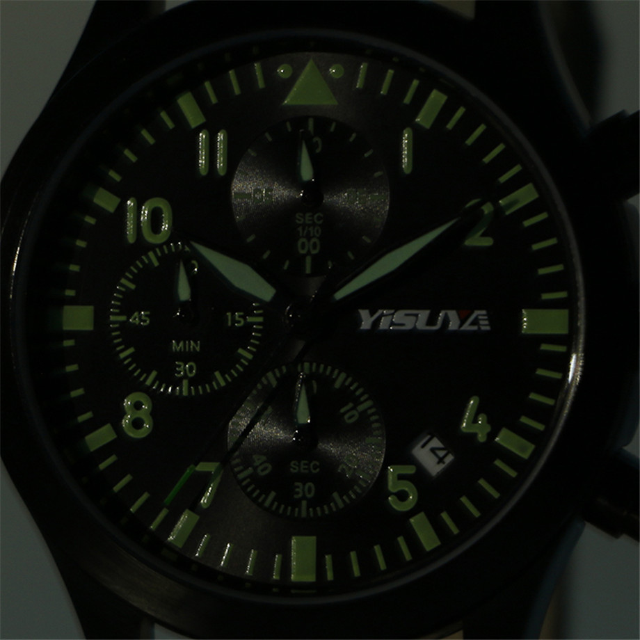 6a1239597f9 ... YISUYA Watch Men Chronograph Quartz Army Green Day Date Stylish Sport  Man s Wristwatches Aviator Nylon Strap