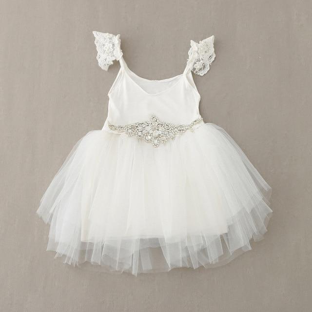 5088e6498c 2016 moda vestido de renda branco com cinto de Strass Linda Meninas Vestido  de Festa De