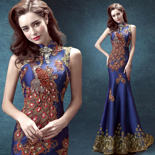 5ff5cf1aa9 traditional chinese wedding long dragon brocade gold lace red qipao qi pao dresses  traditional red wedding dress blu