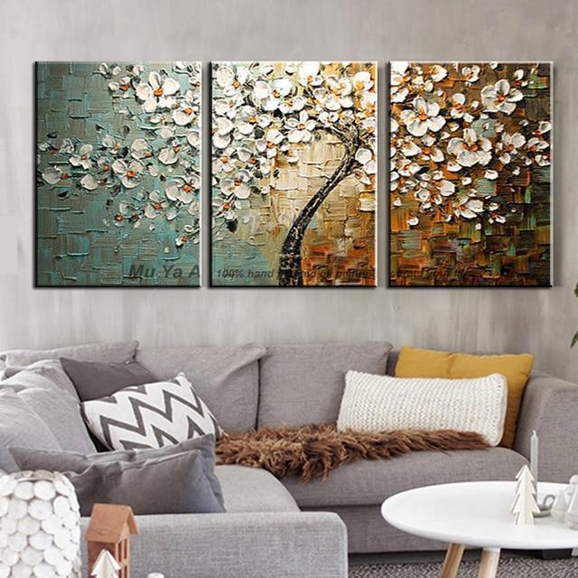 Handgefertigte Dekorative Leinwand Malerei Günstige Moderne Gemälde  Spachtel Acryl Malerei Baum Wandbilder Für Wohnzimmer