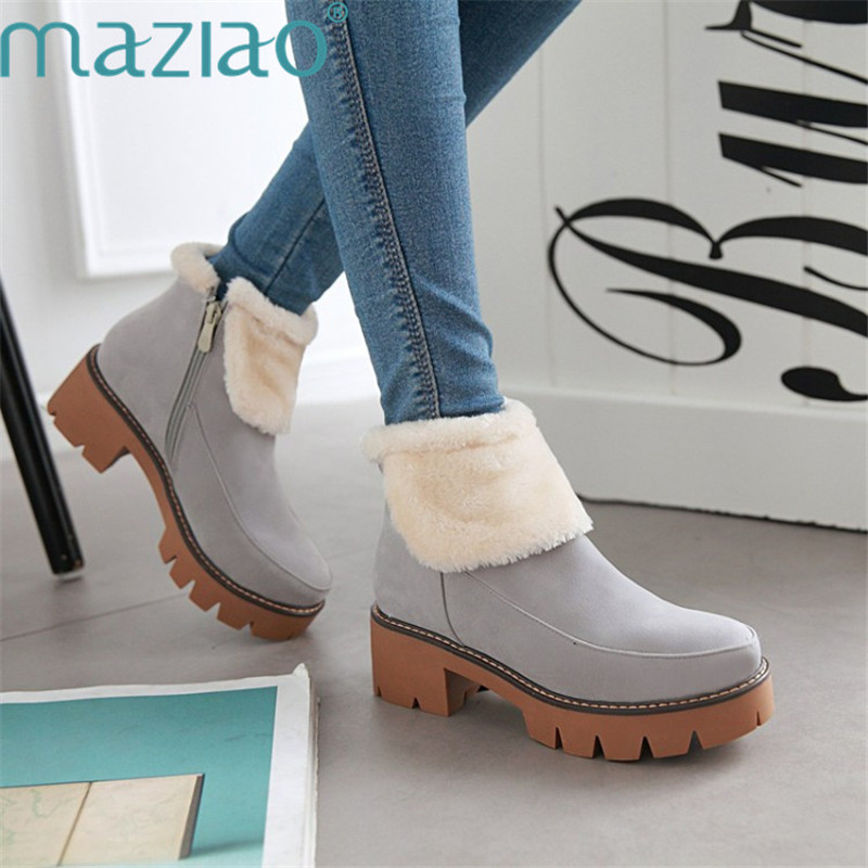 High Heels Shoes Woman PU Soft Leather Platform Boots Side Zipper Ankle Boots Round Toe Fluffy Shoes Comfortable Boots MAZIAO