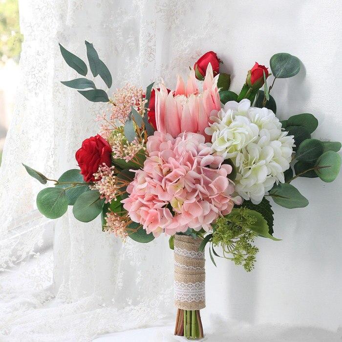 1 Bouquet Hydrangea Flower Protea Eucalypti Bouquet Wedding Bridal