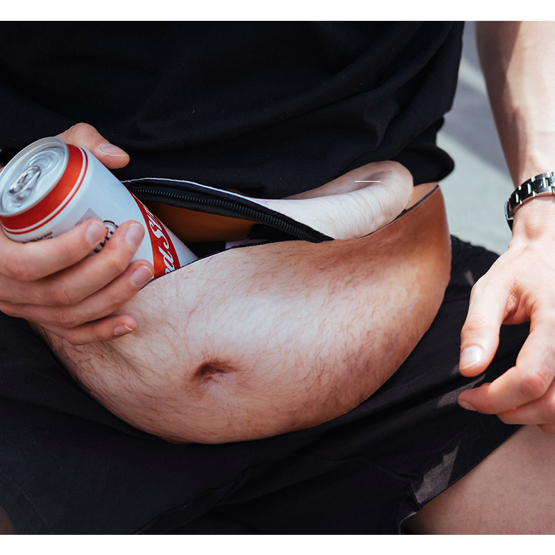 2019 3D Funny Fashion Design Men Women Dad Waist Bag Fat Beer Belly Pockets PU And Zipper Pocket Travel Phone Organizer 9 Color