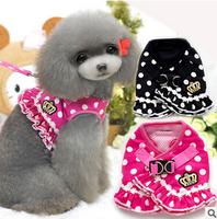 Comfort Cat Dog Pet Safety Walking Vest Harness Leash Padded Dots Pink And Black Costume Personalized