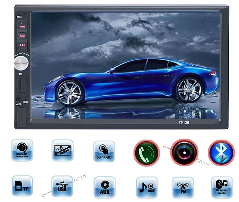 2 Din 7'' inch LCD Touch screen car radio player support 5 Languages Menu BLUETOOTH hands free rear view camera car audio