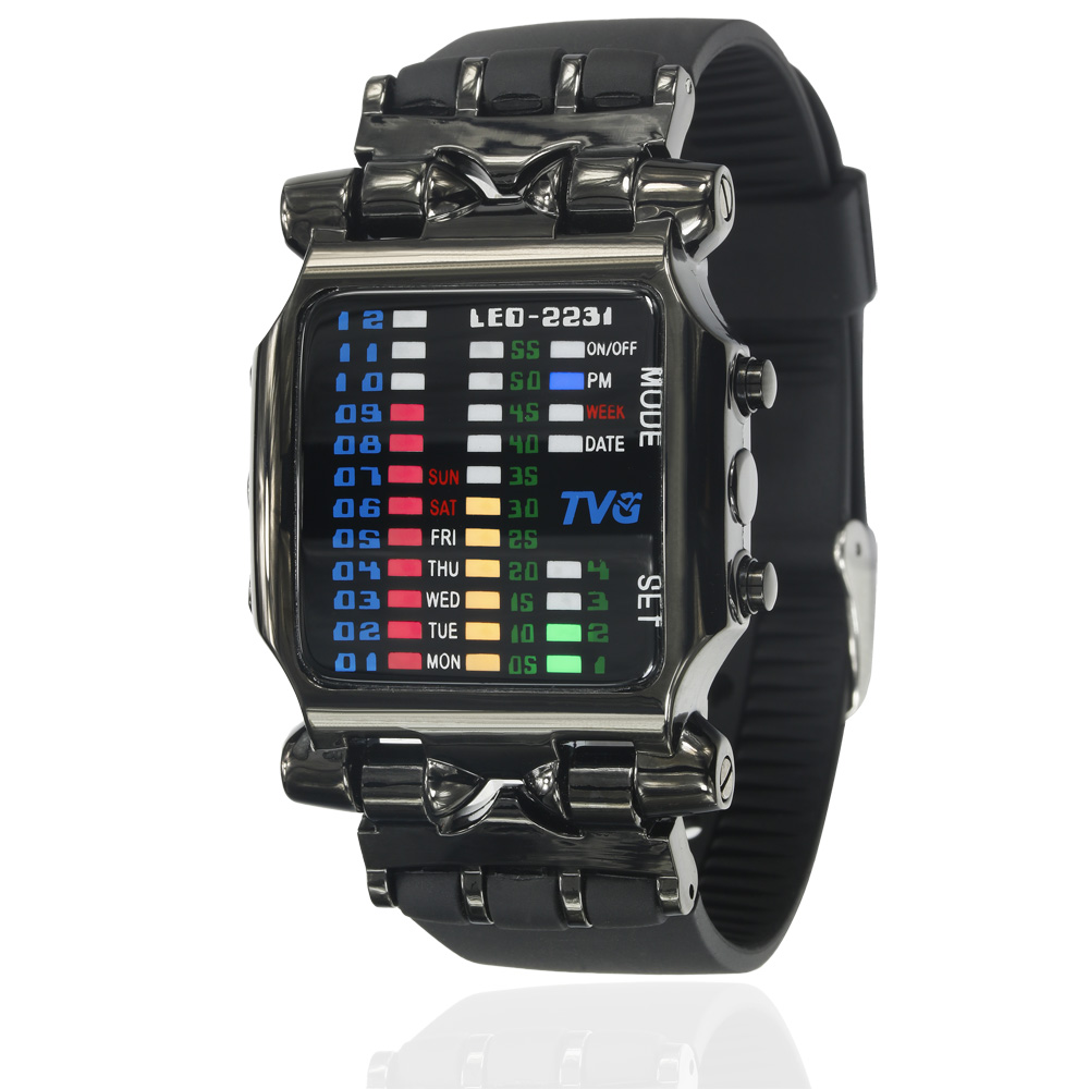 2018 new brand TVG Rubber Band waterproof cool geek LED Digital Sports Watches Black Men Luxury Fashion Binary Gift Clock Watch  1