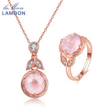 LAMOON classic flower 100% Natural Pink Rose Quartz 925 Sterling Silver Jewelry sets  Drop Earrings S925 V023-3