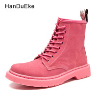 Fashion Martin Boots Women Shoes 2018 Spring Winter Pink Beige Camel Khaki Grey Black Solid Cow