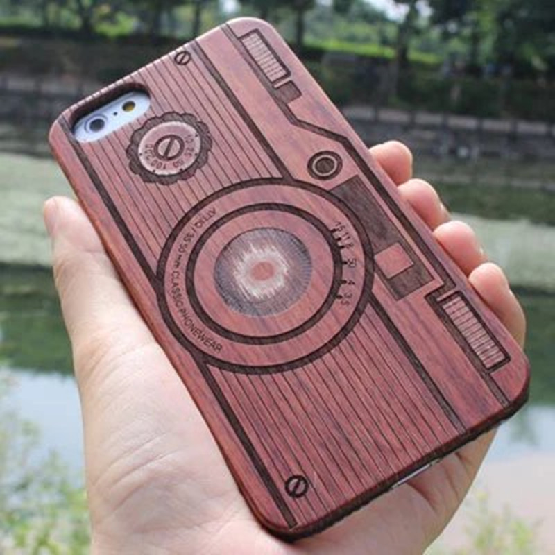 Natural Wood Bamboo Print PC Hard Back with Carvings Nature Ultra Slim Wooden Protective Cover Case for iPhone 6 4.7 inch
