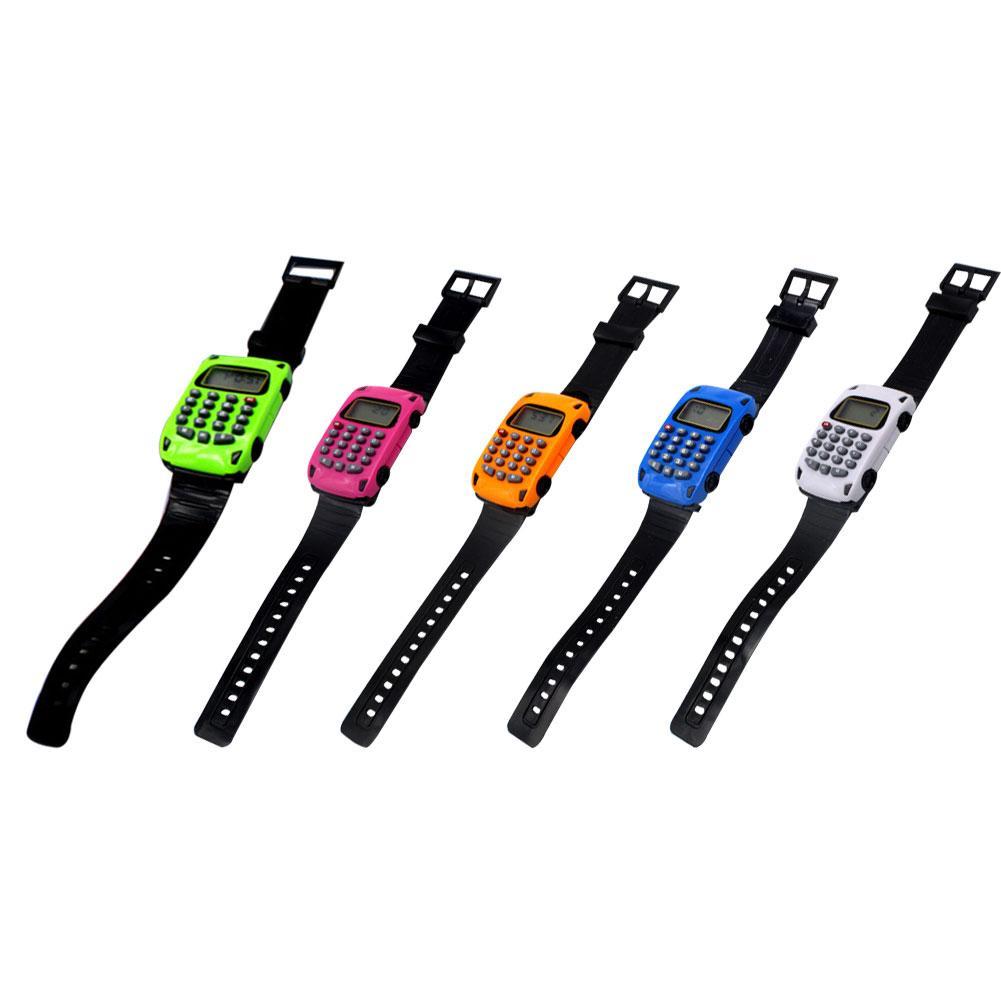 Multifunctional Car Shape Mini Calculator Chronograph Date Display Computer Kids Children LED Electronic Digital Wrist Watch