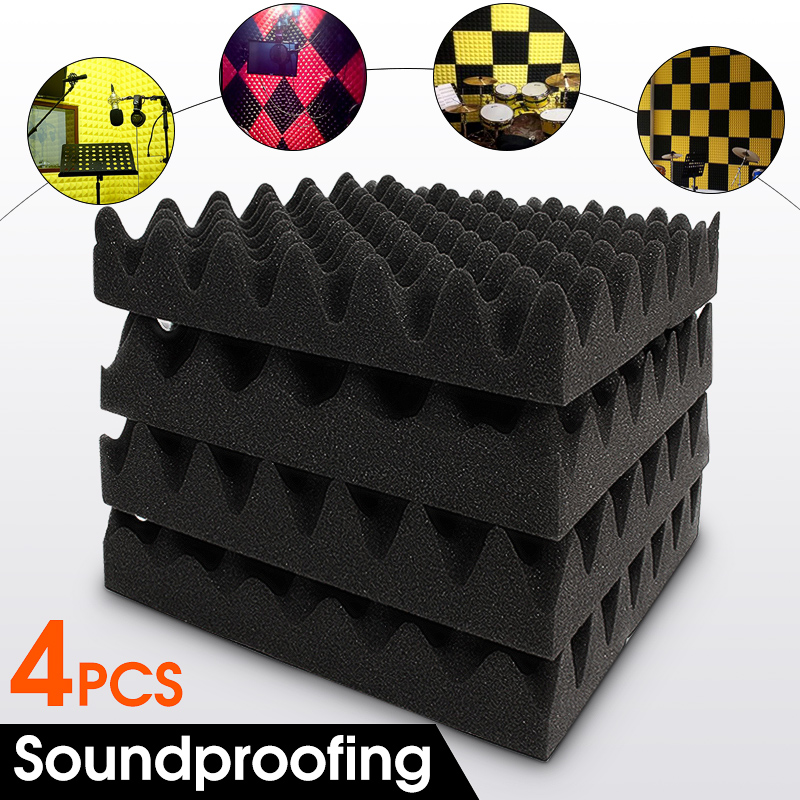 4Pcs 30X30X6cm Soundproofing Foam Acoustic Foam Sound Treatment Studio Room Absorption Wedge Tiles Polyurethane foam