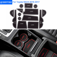 14 Pcs/Set For Toyota RAV4 2016-2017 Car Styling Slot Pad Interior Door Groove Mat Latex Anti-Slip Cushion Car Dedicated