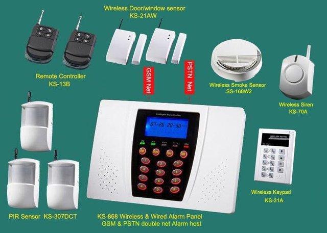 Home GSM quad band Alarm Systems with siren, smoke detector, door sensor, infrared sensor, keypad retail & wholesale security