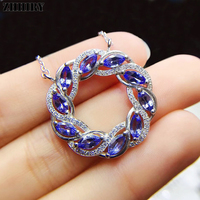 ZHHIRY For Women Natural Tanzanite 925 Sterling Silver Pendant Necklace Chain Real Blue Gems Stone Fine Jewelry