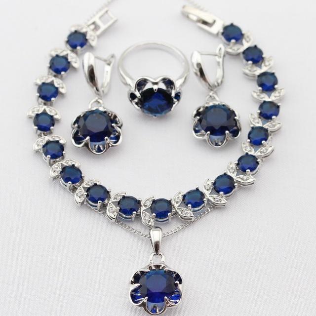 Flor Azul Imitado Sapphire Mulheres Conjuntos de Jóias de Natal & Halloween Colar de Pingente de Cor Prata Brincos Anéis Pulseira