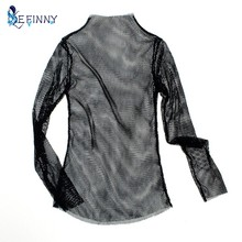 EFINNY Sexy Women Excavates Out T-shirt Shirt. Short T-Shirt Baseball Net Long-Sleeved Casual Scarfs Streetwear Tees(China)