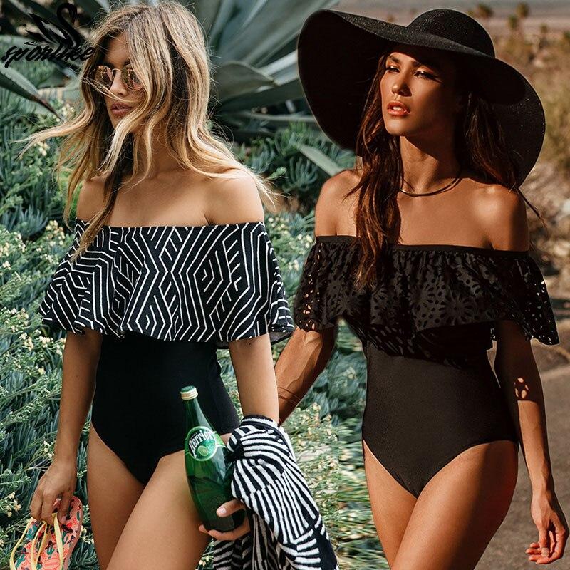 2018 New Sexy Off The Shoulder Sólidos Mulheres Swimwear Uma Peça Maiô Feminino Maiô Monokini Plissado Natação Desgaste XL
