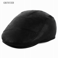 GBCNYIER Fashion Men Casual Spring Berets Outdoor Keep Warm Winter Leather Hat Old Man Real Leather Beret Sheepskin