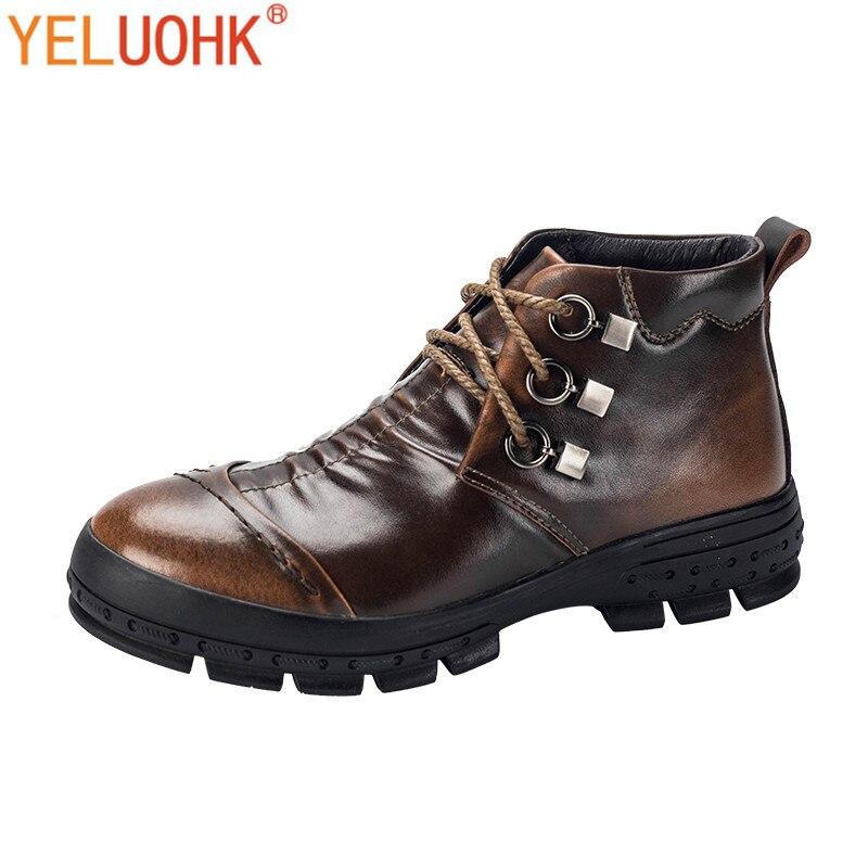 Vintage hommes bottes en peluche chaud hiver bottes hommes chaussures d'hiver de haute qualité
