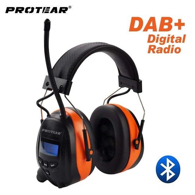 Protear DAB +/DAB/FM Radio ochronników słuchu 25dB bateria litowa nauszniki elektroniczne słuchawki z bluetooth ochrona słuchu