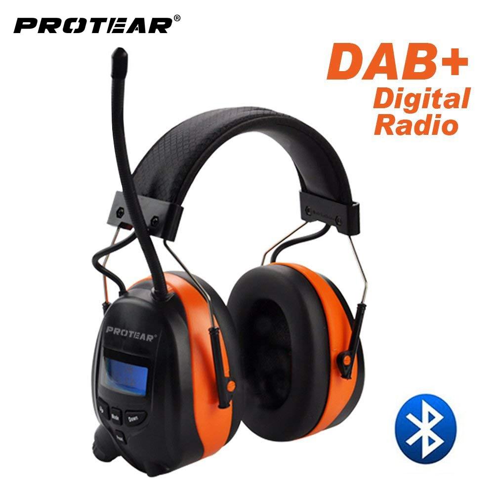 Protear DAB +/DAB/Rádio FM Bateria De Lítio 25dB Earmuffs Protetor Auditivo Eletrônico Bluetooth Fone De Ouvido Protetores de Ouvido